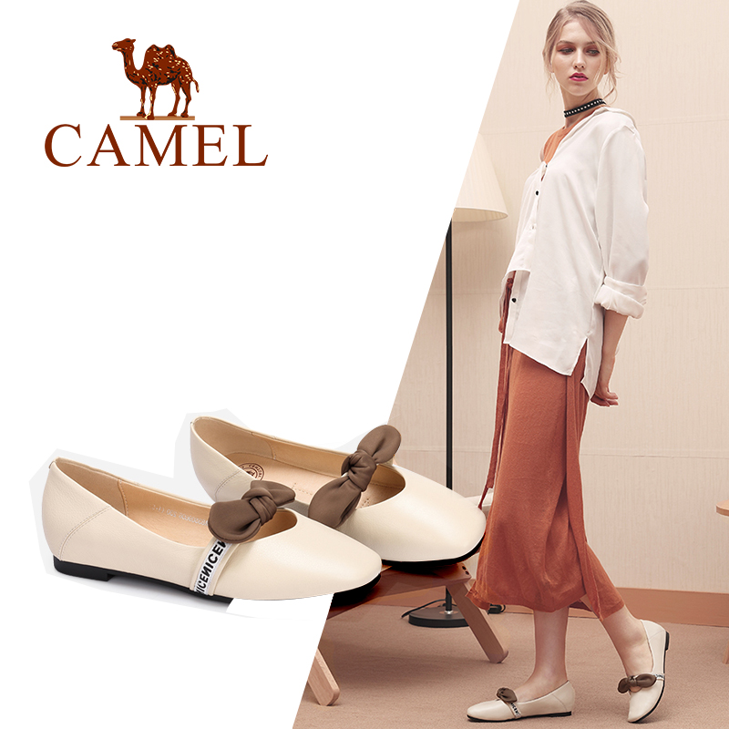 CAMEL New Fashion Casual Flats Single Genuine Leather Shoes Women Slip On Ladies Shoes Bowknot Wrestling Leather Round Low Heel buckle straps embellished women pu leather flat heel shoes korean fashion new 2017 ladies slip on designer flats round toe
