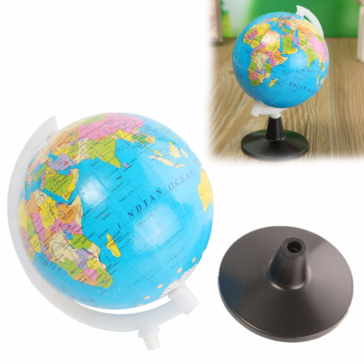 8.5cm Plastic Mini Floating World Globe Atlas Map With Swivel Stand Geography Educational Toys For Child Kid Gift In English