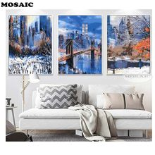 Mosaic DIY Diamond Painting Cross Stitch Kits Full Diamond Embroidery 5D Diamond Mosaic Decor,winter London bridge 3pcs(China)