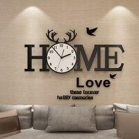 European Acrylic Wall Clock Home Creative Quartz Large Wall Clocks Watch With Wall Stickers Modern Decorative Horloge