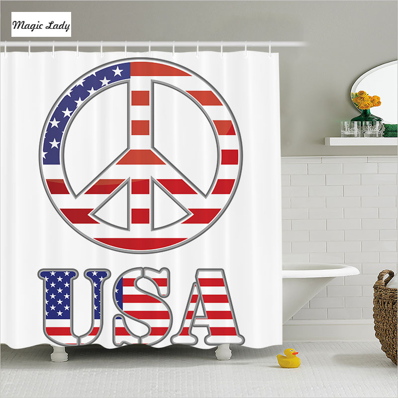 Bath shower curtains flag bathroom accessories peace sign for Blue and white striped bathroom accessories