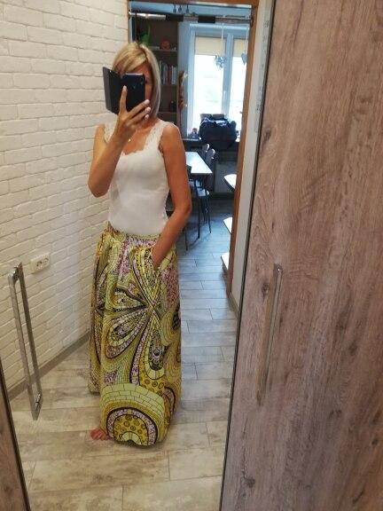 Women African Dashiki Elastic Autumn Winter Summer Maxi Beach Skirt Floral Print High Waist Pleated Floor Length Long Skirt photo review