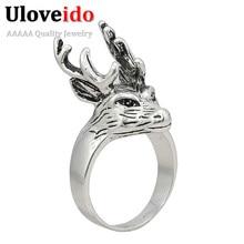 Anillo Retro con diseño de Animal ciervo, anillo para hombre, anillos regalos de plata, Color Platimum, joyería genial de tungsteno, joyería clásica de Superman de plata