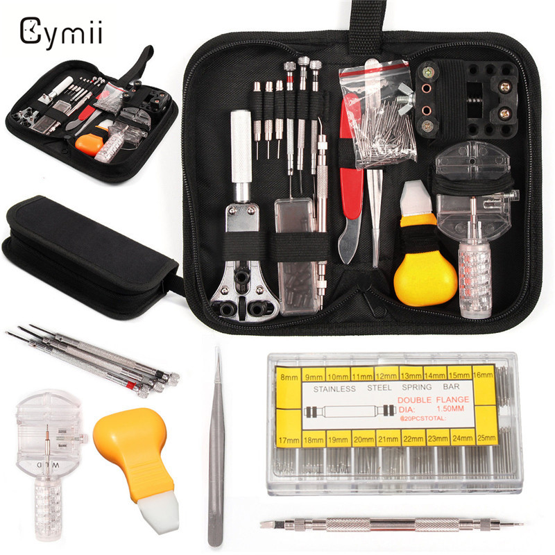 Cymii 415Pcs Professional Watch Repair Tools Kit Set With Portable Black Carrying Case For Watchmaker Watch Accessories