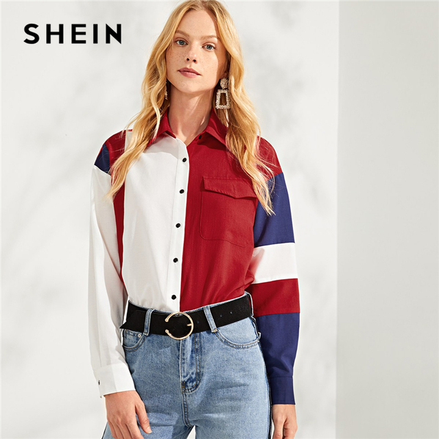 a84f6549b2 SHEIN Multicolor Button & Pocket Up Color Block Top Casual Workwear Long  Sleeve Shirt Blouses Women