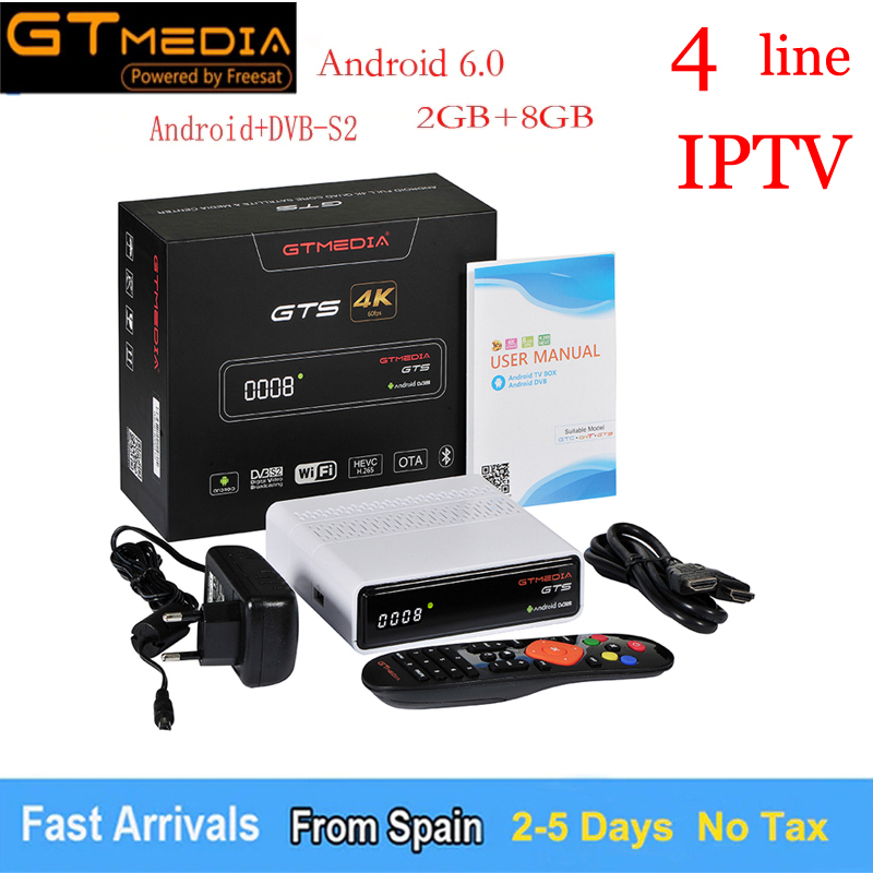 Free European 4 Line And IPTV GTmedia GTS Satellite Receiver Android 6.0 TV BOX+DVB-S/S2 Smart TV BOX Built-In WiFi HD 4K Remote free shipping 10pcs hd1750fx hd tv line pipe