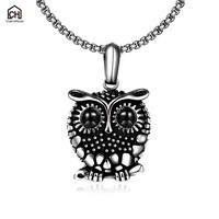 Fashion Stainless Steel Necklace For Men Women Black Owl Pendants Necklaces Link Torque Vintage Jewelry Accessories