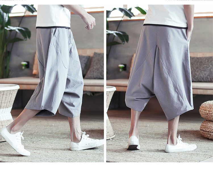 MRDONOO Men Pants Men's Wide Crotch Harem Pants Loose Large Cropped Trousers Wide-legged Bloomers Chinese Style Flaxen Baggy 106