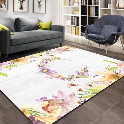 Else Gray Wood Purple Green Yellow Flower 3d Print Non Slip Microfiber Living Room Decorative Modern Washable Area Rug Mat