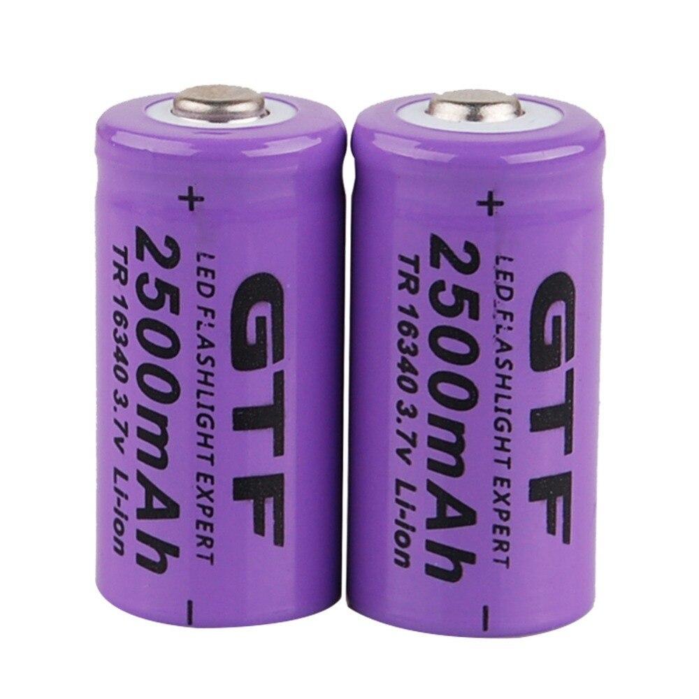GTF 4 pcs Universel 16340 2500 mAh 3.7 V Li-ion Rechargeable Batteries Pour lampe de Poche Projecteur
