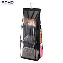 ANHO Storage Bag Hanging Double-Side Handbag With 6 Pockets Anti-dust Storage Organizer Bag transparent Black For Wardrobe Home