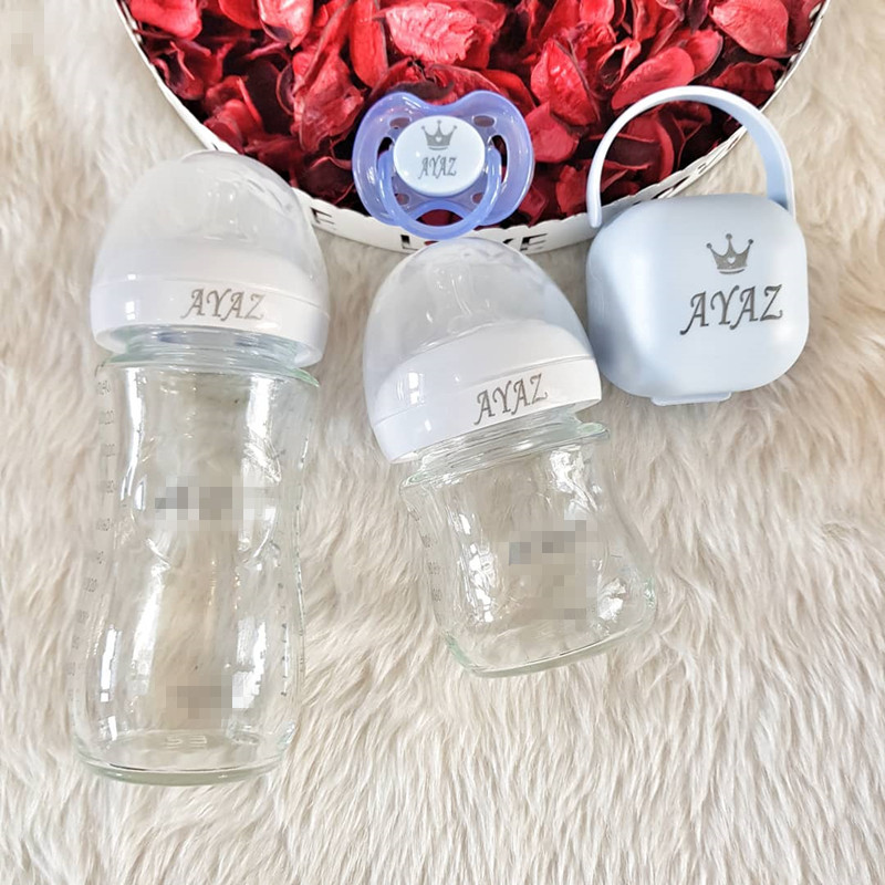 MIYOCAR Any Name Make Baby Bottle Pacifier Pacifier Box Set BPA Free FDA Grade Baby Milk Bottle Pacifier Dummy Custom Pacifier