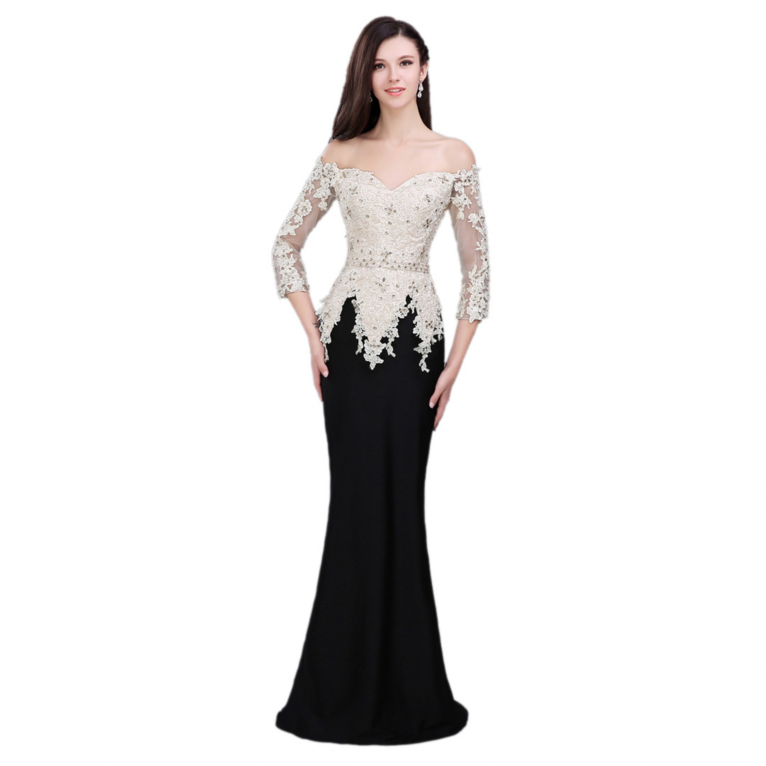 Prom-Gown Party-Dress Tulle Mermaid Evening Formal Black Elegant White Beading Sleeve