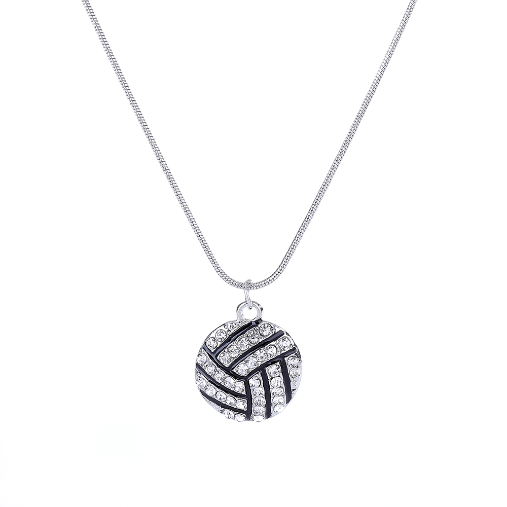 nl005477 Pendant Necklaces Lureme Fashion Crystal Rhinestone Ball Pendant Necklaces For Women Girl Basketball Baseball Sports Jewelry 3 Colors