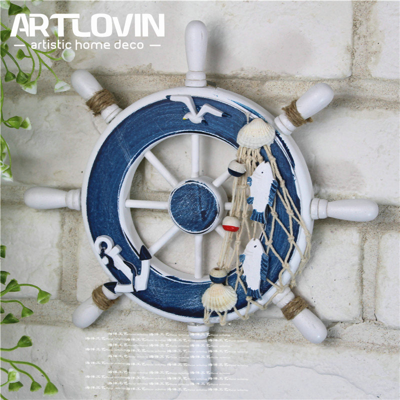 Nautical Wooden Wood Boat Ship Steering Wheel for Net Wall Hanging Decor 4Style