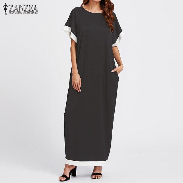 ZANZEA Women Dress 2018 Summer Casual Loose Maxi Long Party Dresses Vintage O Neck Short Sleeve Vestidos Plus Size S-5XL