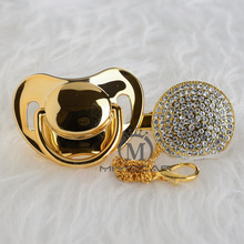 MIYOCAR BLING all gold pacifier and clip unique design  baby SGS certificate safe A8