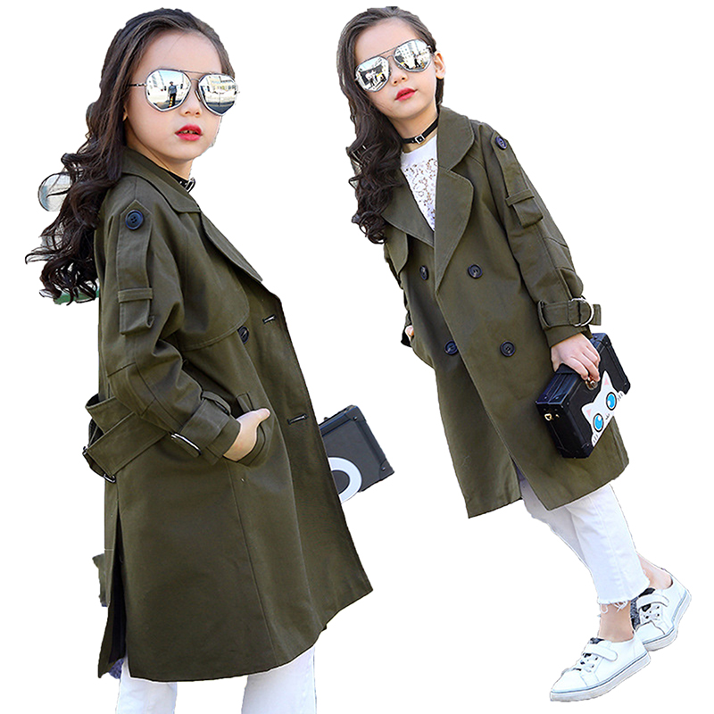 Children Overcoat Girls Trench Coat Khaki Kids Windbreaker Jackets Girls Outerwear Coats Double breasted Coats 2018