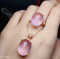 KJJEAXCMY boutique jewelry 925 sterling silver inlaid natural Hibiscus gemstone lady pendant necklace ring 2 sets support detec