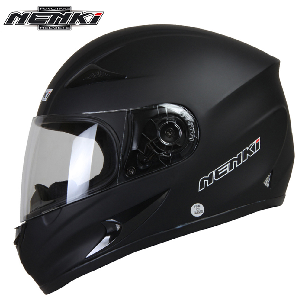NENKI Matte Black Motorbike Helmet Motorcycle Full Face Helmet Motorcycle Riding Street Bike Motor Racing Helmet For Men Women nenki motorcycle helmets motocross racing helmet motorbike full face helmet capacete de moto for men and women 13 color