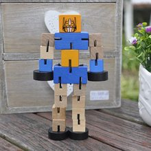 High Quality Wooden Transformation Robot Building Blocks Kids Toys for Children Educational Learning Funny Games Gifts(China)