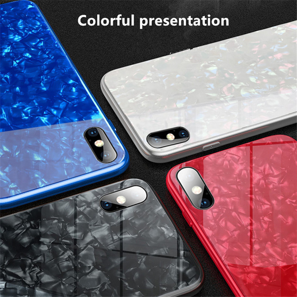 Luxury Tempered Glass Geometric Case For iPhone X 7 8 Plus Soft TPU Frame Art Print Patterned  ProtectiveCover For iPhoneX 10 (1)