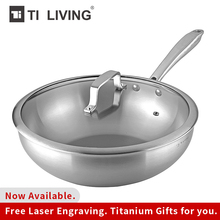 Купить с кэшбэком  New pure titanium non-stick frying pan pot frying pan non-coated pan pot induction wok with tempered glass cover no heavy metal