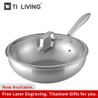 Hot Sale Titanium Non stick Frying Pan Kitchen Accessories Pot Non coated Pot Induction Wok Tempered Glass Cover Home Healthy