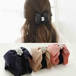 Korean Sweet Fabric Rhinestone Bow Hair Claw Elegant Women Solid Cloth Ties Hair Crab Clips Ponytail Hold Girl Hair Accessories