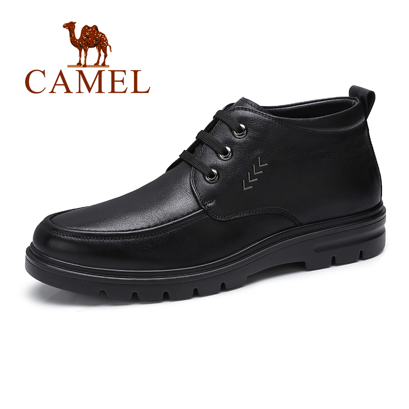 CAMEL Men Boots With Warm Fur Business Casual Genuine Leather Black Non slip Soft Cowhide Natural