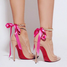 1 piece New style anklets female jewelry Sexy elegant Ribbon bowknot foot chain alloy The bracelet on the leg for women