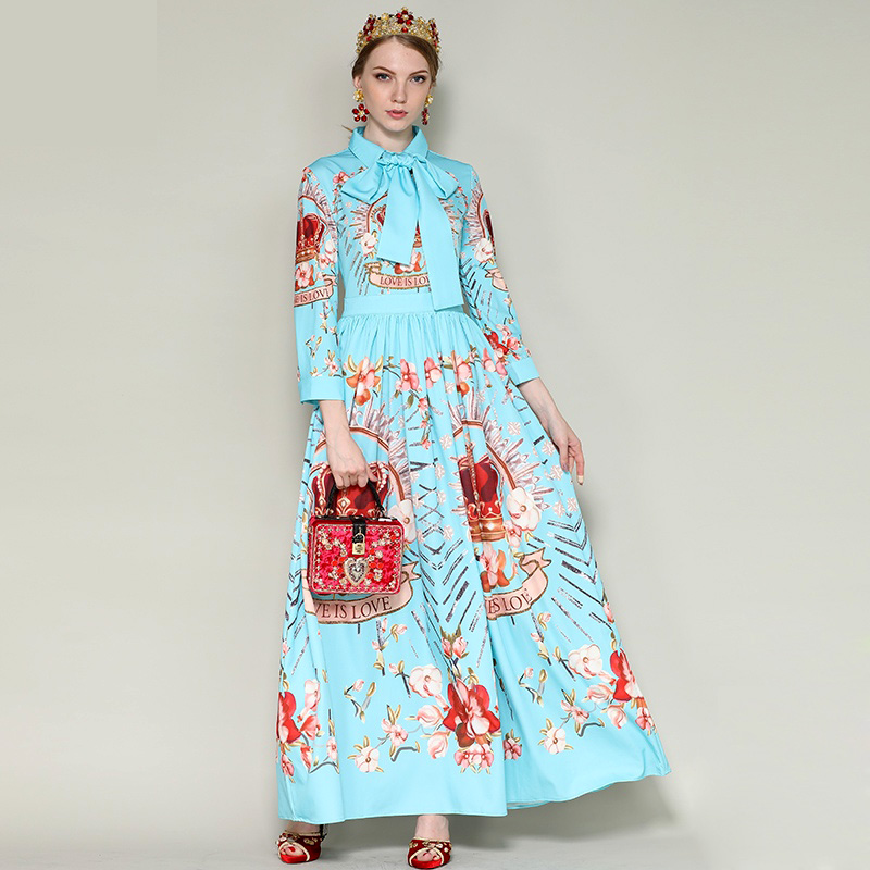 New Arrival 2018 Womens Turn Down Collar Long Sleeves Bow Detailing Printed Fashion Long Designer Runway Dresses