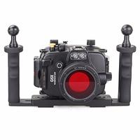 40m/130ft Underwater Diving Camera Housing for Canon G5X + Two Hands Aluminium Tray+67mm Red Filter,Camera Waterproof Bags Case