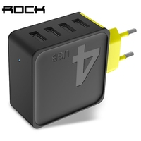 Rock 4A Sugar 4 USB Ports EU Plug Fast Travel Wall Charger For Iphone7 7P For