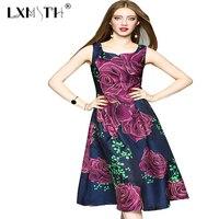 LXMSTH Elegant Summer Dress Middle Age Clothing Floral Print Dress Sleeveless A Line Runway Dresses 2017