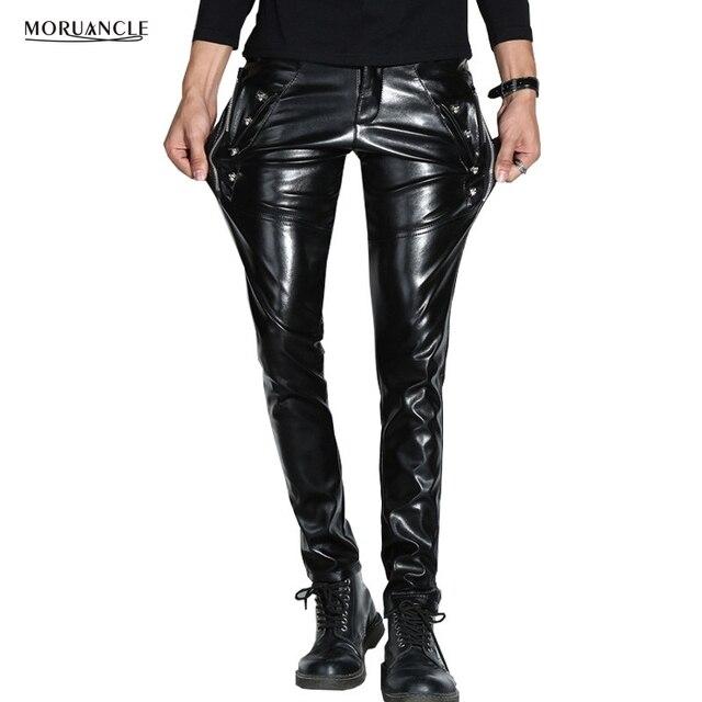 Top MORUANCLE Men Skinny Faux PU Leather Pants Shiny Black Trouser  AD57