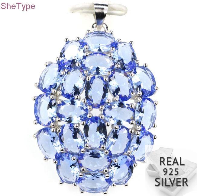 6.7g Ravishing Top Rich Blue Violet Tanzanite Real 925 Solid Sterling Silver Pendant 41x26mm6.7g Ravishing Top Rich Blue Violet Tanzanite Real 925 Solid Sterling Silver Pendant 41x26mm