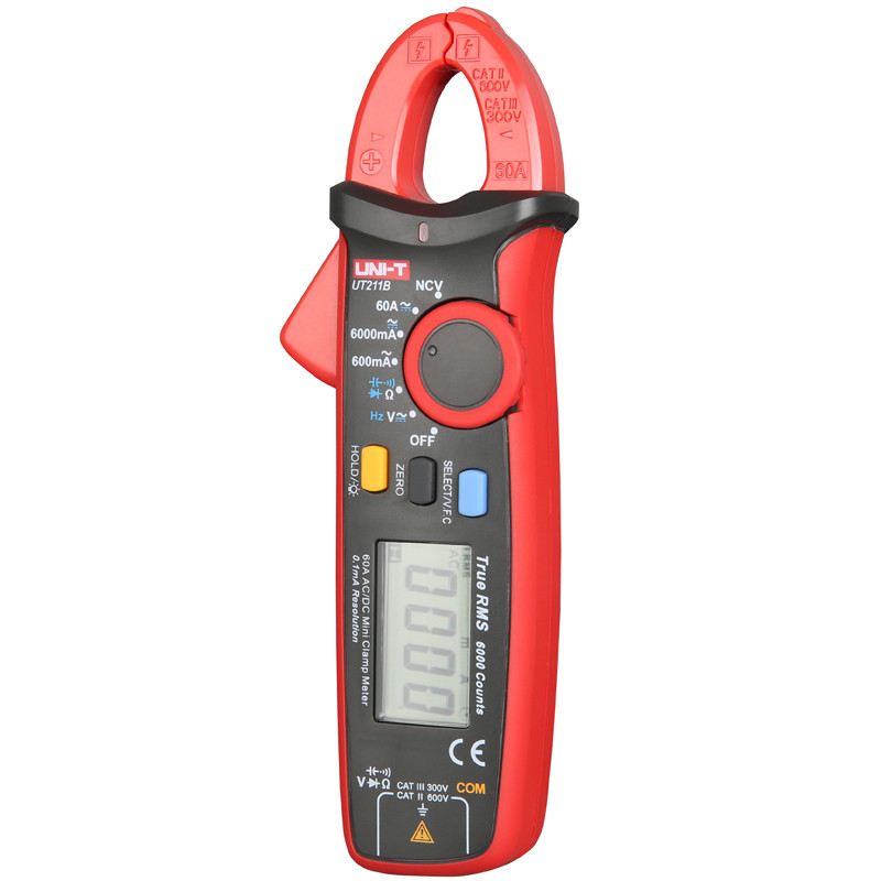 UNI T UT211B AC/DC 60A Mini Digital Clamp Meters; True RMS Ammeter, V.F.C./NCV/ Resistance/Capacitance Test, LCD Backlight - 4