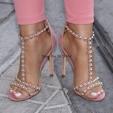 Women Rivet Sandals Thin High Heels Shoes Peep Toe Sandals Pink Suede Shoes T-Strap Shoes Narrow Band Party Shoe Back Zipper