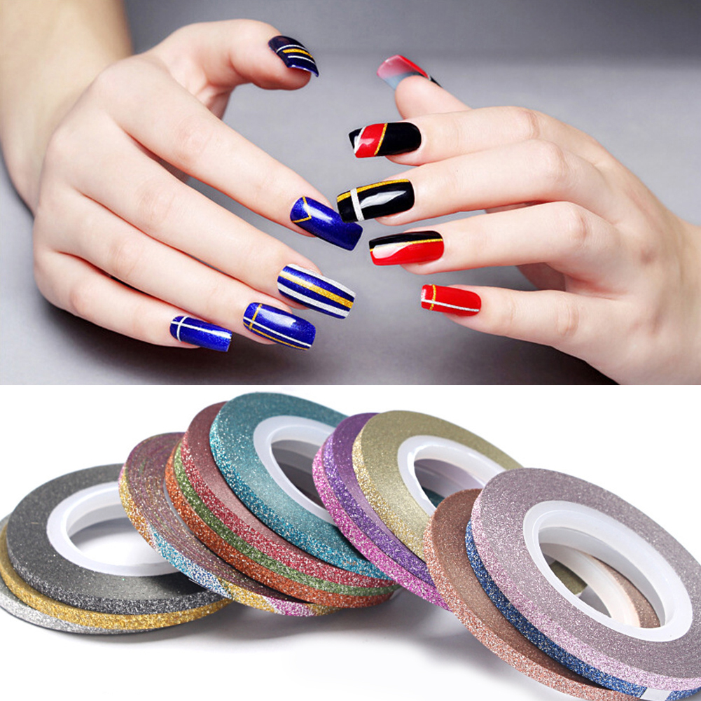 1mm 10 teile/los Farbe Glitter Nail Striping Linie Klebeband ...