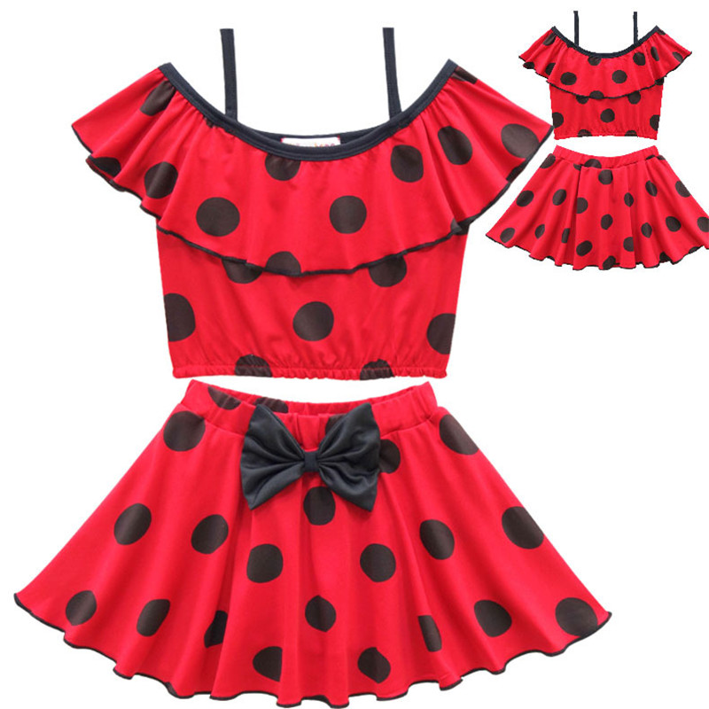 Miraculous Ladybug Swimwear Suit Costumes Cosplay Children Party Swimming Suit Lady bug Girls Red Kids Beach Dress C052