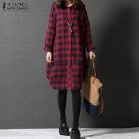 ZANZEA Women Retro Red Plaid Check Long Sleeve Long Shirt Blouse Autumn Turn Down Collar Linen