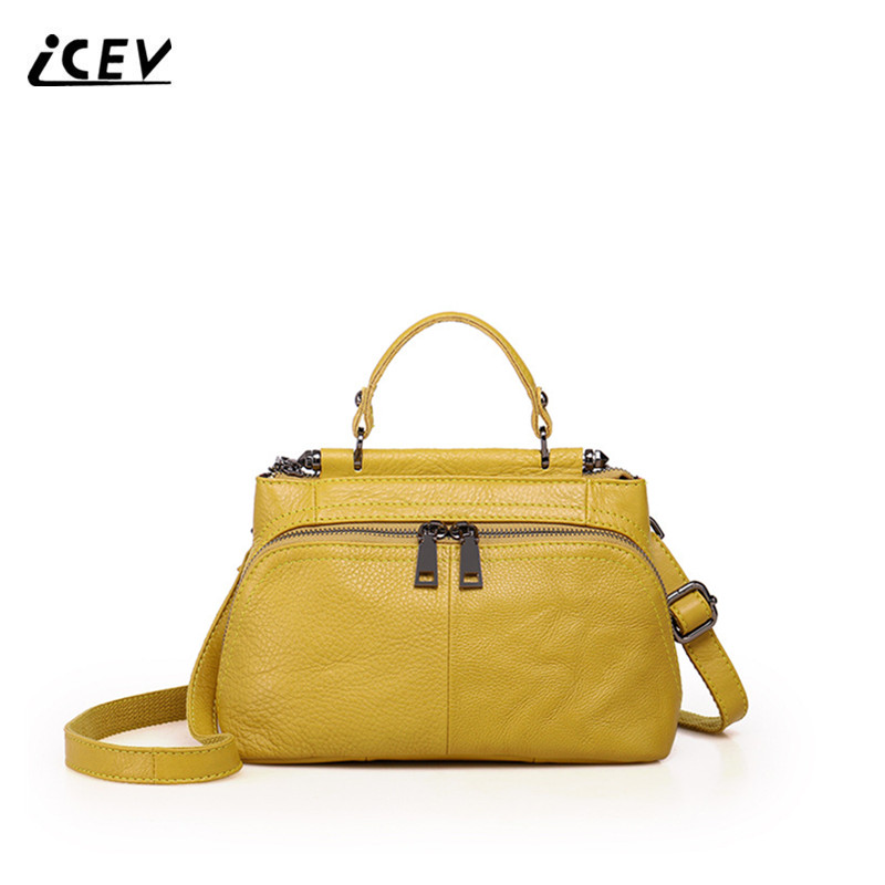 ICEV Fashion Cowhide Genuine Leather Handbags Women Leather Handbags Candy Color Top Handle Bag Cow Leather Women Shoulder Bags