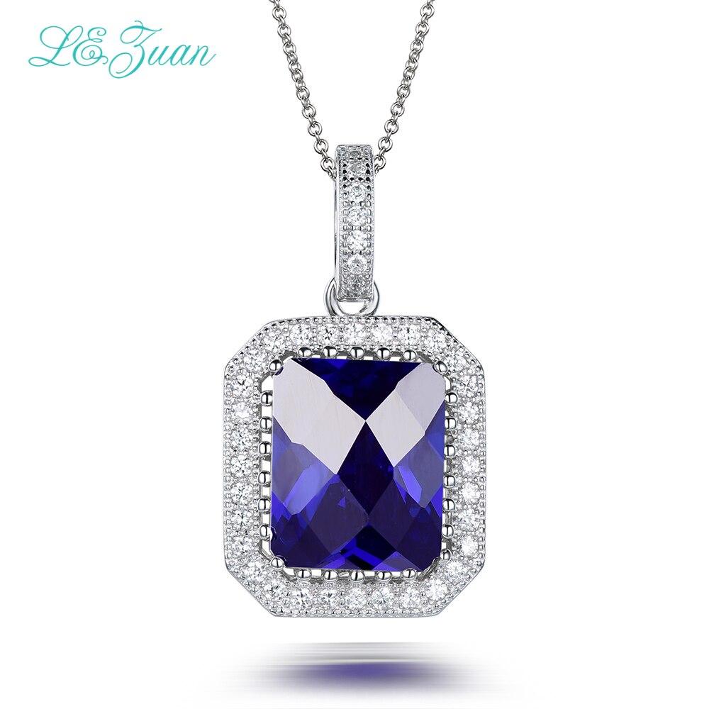 L & zuan 925 collier en argent Sterling 5.34ct pierre bleue pendentif de luxe bijoux fins collier ras du cou pendentifs pour femmesL & zuan 925 collier en argent Sterling 5.34ct pierre bleue pendentif de luxe bijoux fins collier ras du cou pendentifs pour femmes