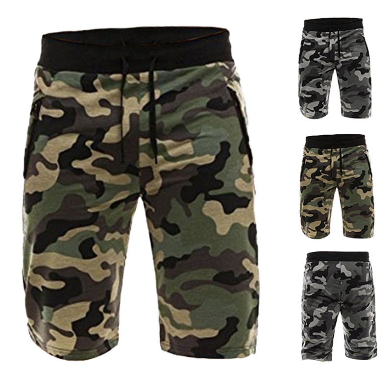 Camouflage Men's Shorts Polyester Loose Calf Length Sweatpants Male Joggers Workout Comfortable Mens Board Shorts Camo Bottom