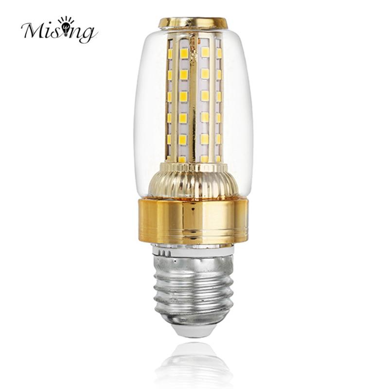 Mising LED Light Bulb E27 E14 9W 2835SMD 52leds Warm White Gloden Retro Corn Light Bulb Lamp Chandelier Lighting AC85-265v