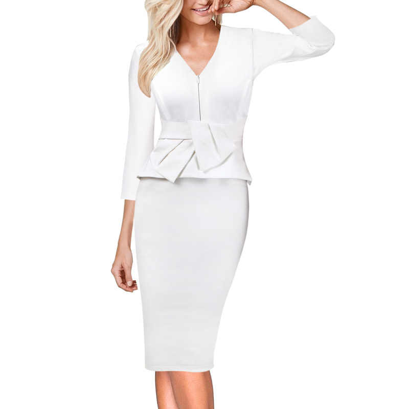 Vfemage Womens V-hals Rits Ruche Boog Peplum Werk Office Business Cocktail Party Stretch Bodycon Potlood Schede Jurk 725