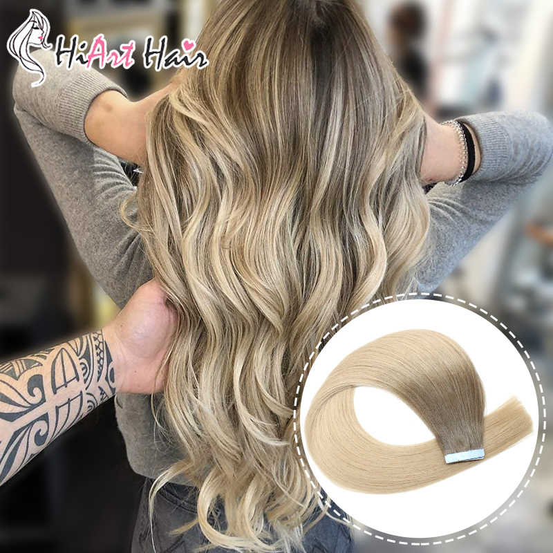 "HiArt 2.5g/pc Tape Hair In Human Hair Extensions 20Pcs Double Drawn Salon Style Pre Bonded Remy Hair Balayage Straight 18""20""22"""