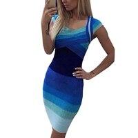 Mujeres sin mangas gradiente color rayas vestido sexy skinny partido Paquetes hombros vestido sexy cuerpo conformación vestido