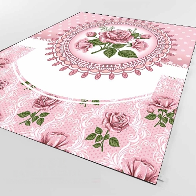 Else Pink White Roses Flowers Floral Vintages 3d Print Non Slip Microfiber Living Room Decorative Modern Washable Area Rug Mat